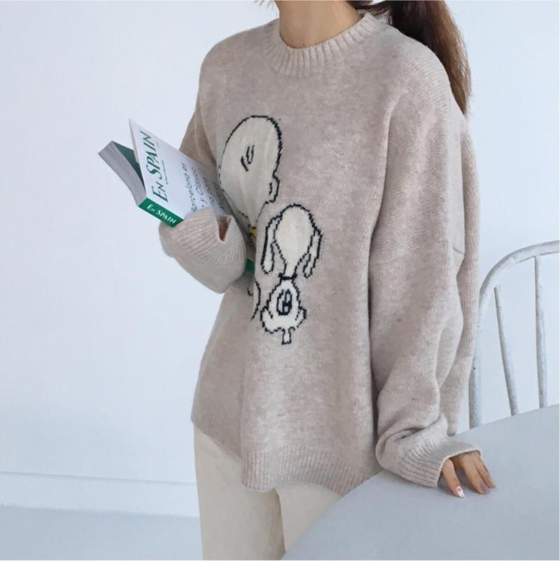 Color Coreana Jersey Primavera 2019 Snoopy Las Impreso Photo Y Punto  Mujeres Casual Suéter As De ... f9e72d55df31