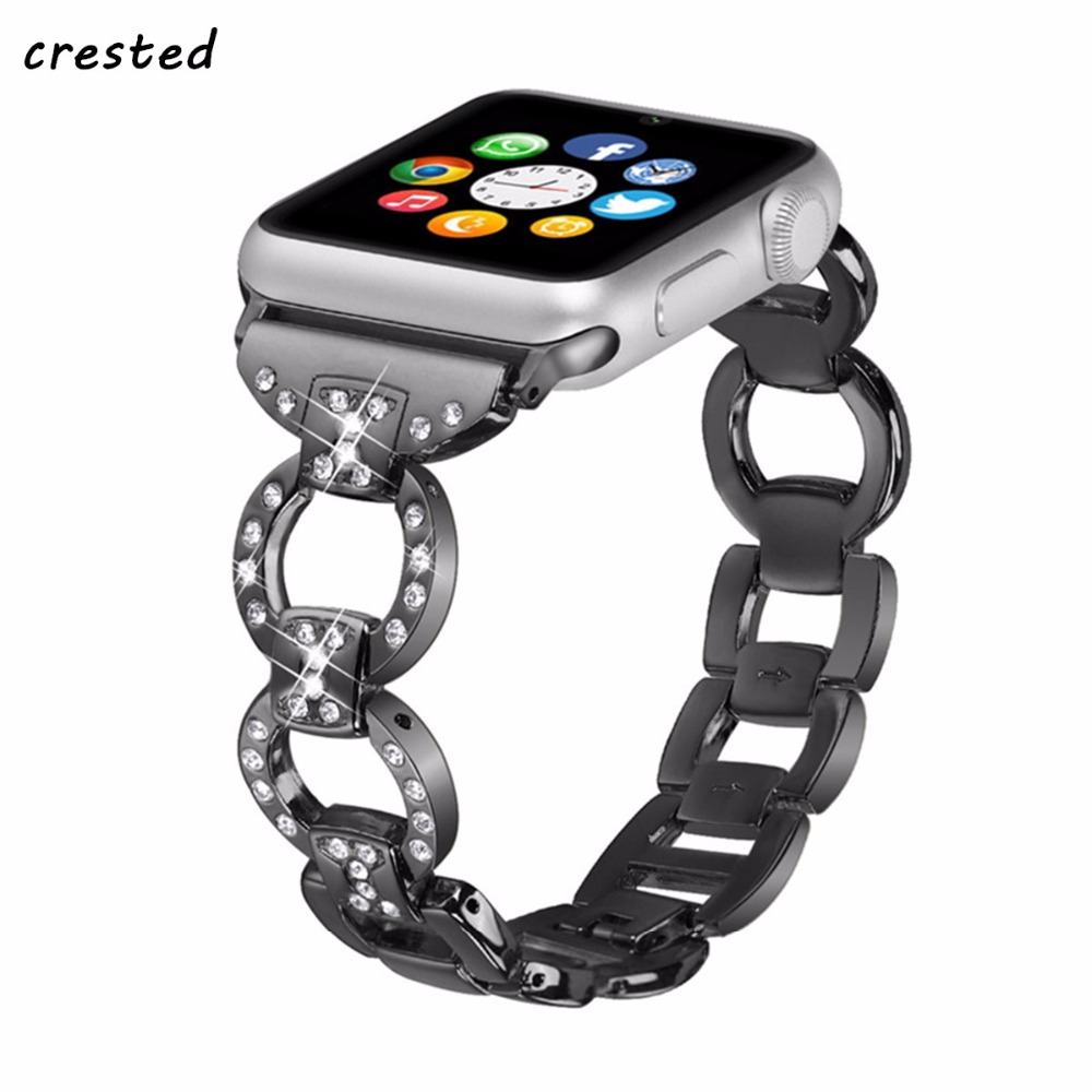 CRESTED band For Apple Watch 3 42mm/38mm iwatch 3/2/1 Stainless Steel link Bracelet wrist watch band diamond metal Buckle Strap