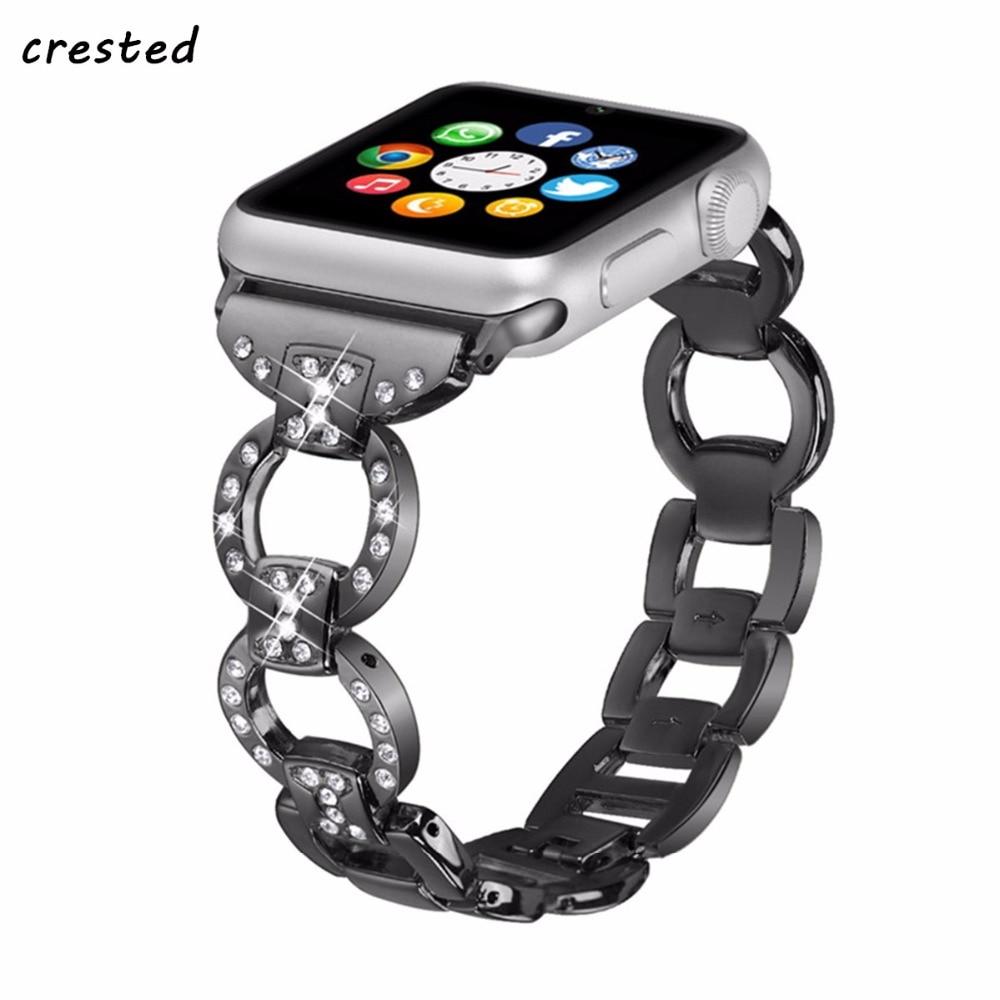 CRESTED band Für Apple Uhr 3 42mm/38mm iwatch 3/2/1 Edelstahl link armband armbanduhr band diamant metall Schnalle