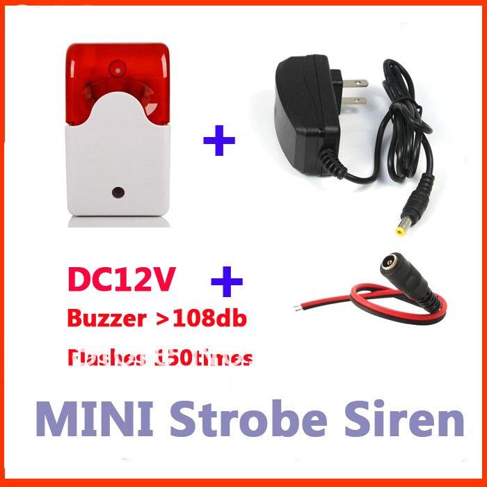 Indoor Mini Wired Alarm Siren with Stroble flash light 12V DC Buzzer +12V1A power adapter anti cut siren alarm dc 9 12v