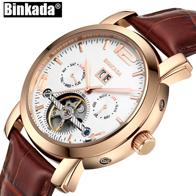 Tourbillon Analog Mens Mechanical Watch Top Luxury Brand BINKADA Automatic Waterproof Men Watches Skeleton Sport Business Watch tevise men black stainless steel automatic mechanical watch luminous analog mens skeleton watches top brand luxury 9008g