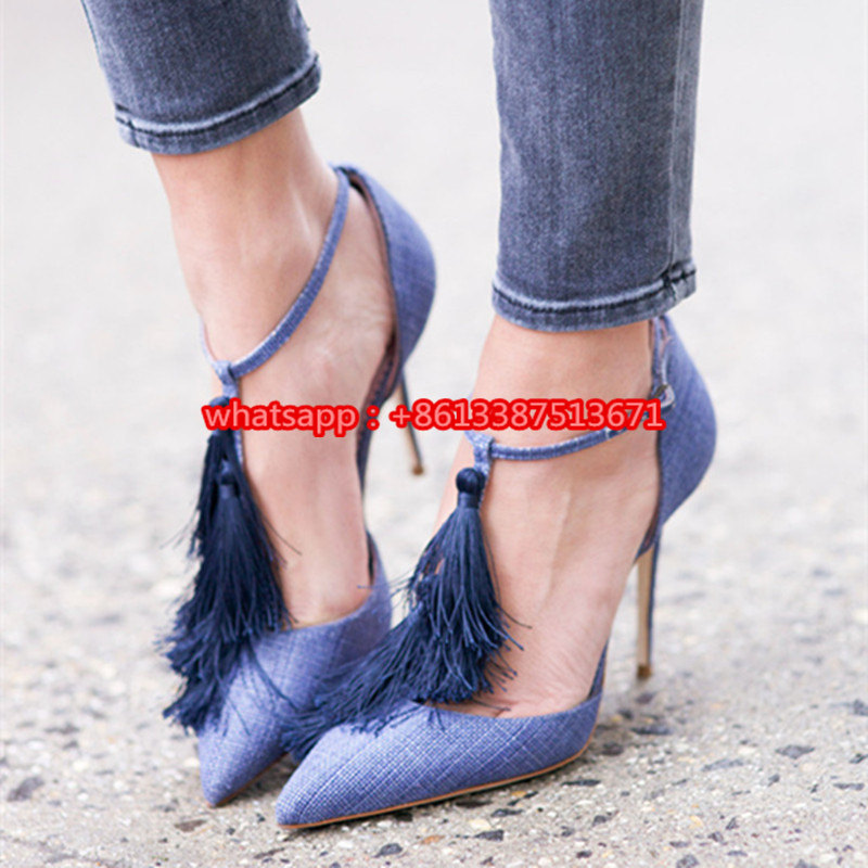 Blue Distressed Jeans T- Strap Tassel Pumps Pointed Toe Ankle Buckle Siletto High Heel Fashionable Party Dress Shoes Women guess shoes jeans pumps