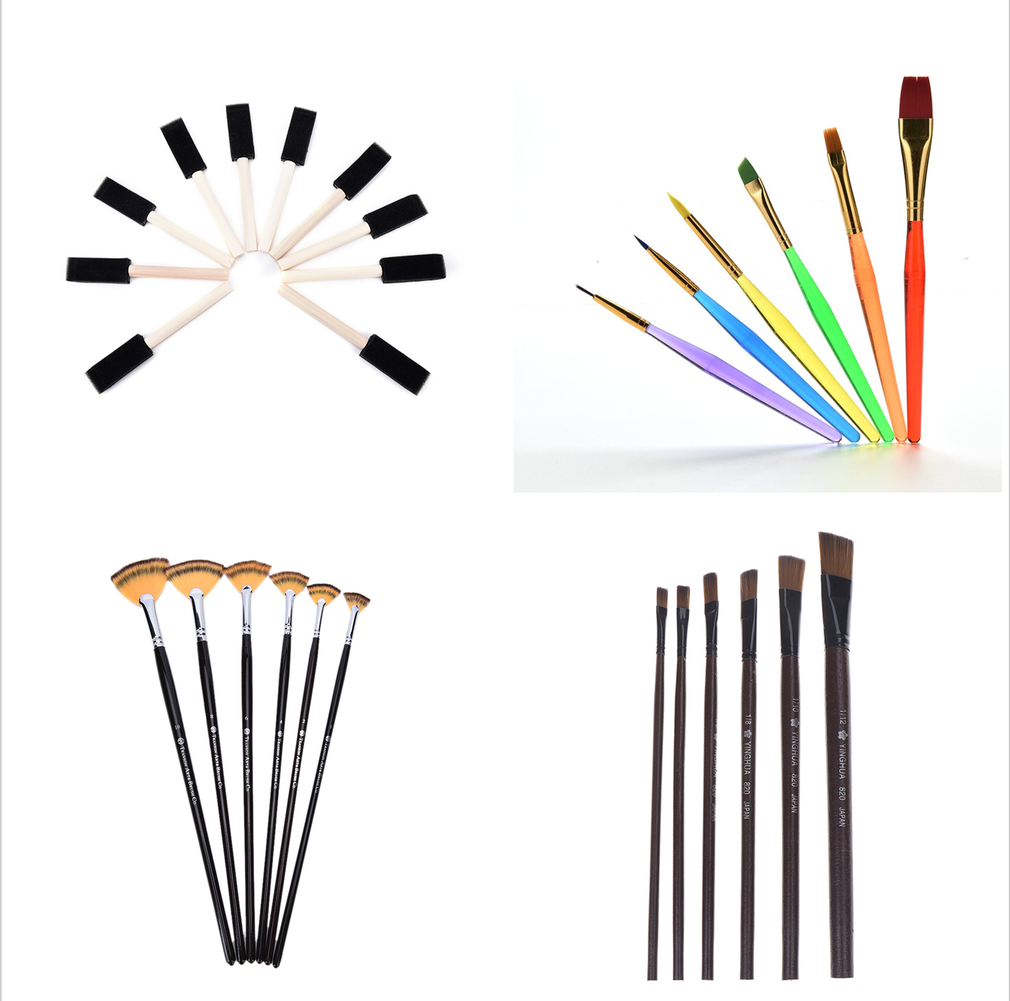 Wooden Handle Foam Brushes Fan-shaped Oil Painting Brushes Set Painting Drawing DIY Craft Draw Brushes 1/6Pcs/10PCS