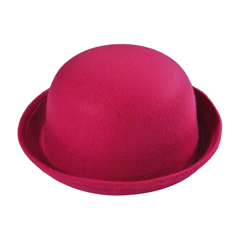 Hot Spring Autumn Cute Ladies Female Formal Wool Solid Color Dicer Billycock Hemming Bowler Hat Classic Women's Caps Fedora Hat