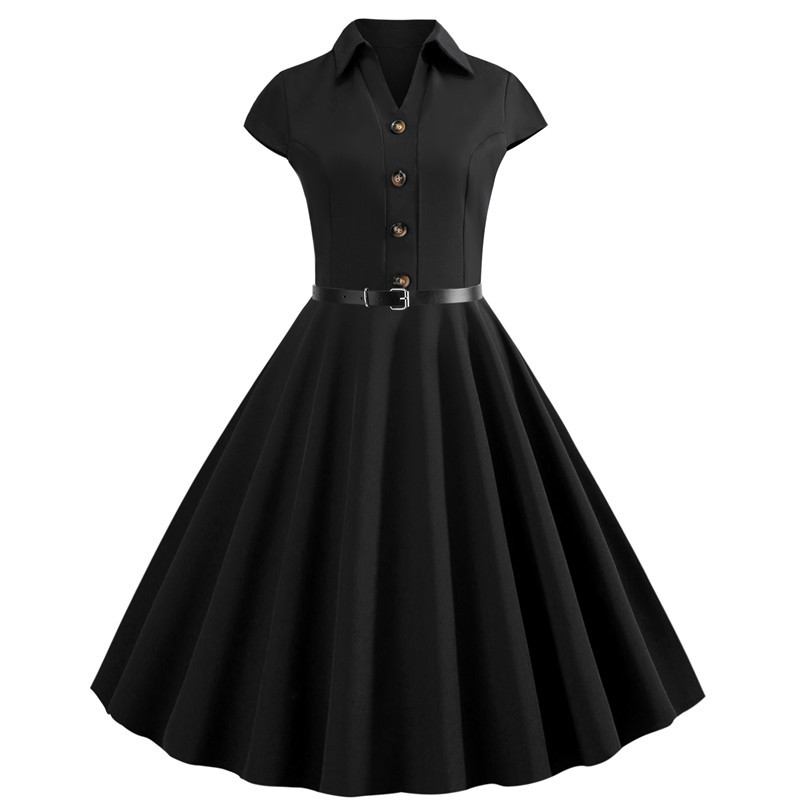 Solid Women Summer Dresses 2019 Office Clothing Robe Vintage 50s 60s Pin Up Big Swing Party Rockabilly Dress Knee-Length Vestido