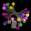 20Light Wicker Cane Multi Colour Rattan Ball LED Fairy Lights for Christmas Wedding Party Home Decor White / Colorful EU Plug