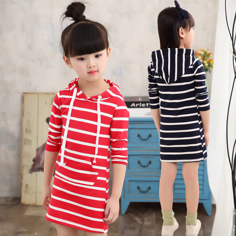 Fashion Autumn Girl Dress Hooded Long Sleeve Kids Clothes Toddler Next Casual Children Clothing Striped Tutu Baby Dresses Girls fashion brand autumn children girl clothes toddler girl clothing sets cute cat long sleeve tshirt and overalls kid girl clothes