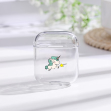 Case For Airpods Cute Runing unicorn Painted Transparent Hard PC Cases AirPods Protective Cover Wireless Earphone