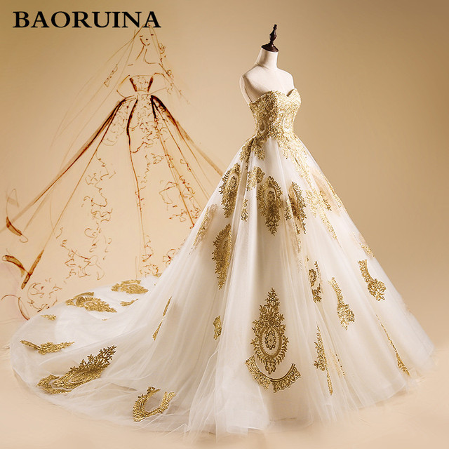 Gorgeous Embroidery Wedding Dresses Ball Gown Sweetheart Watteau ...