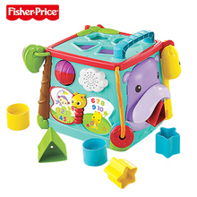 лучшая цена Fisher Price Brand baby learning toys Play & Learn Activity Cube Busy Box Educational Toys For Children  kid Birthday Gift