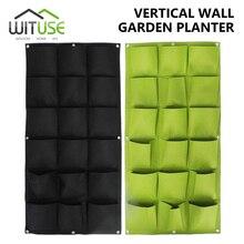Bolsas verdes para plantar en el jardín, para colgar en la pared de flores, herramienta Vertical para plantas de jardín, 4/18/36 bolsillos