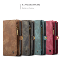 Anyrow Luxury Genuine Leather Case For Samsung Galaxy S9 Plus Cover Multifunction Wallet Removeable Magnetic Shell Phone Cases