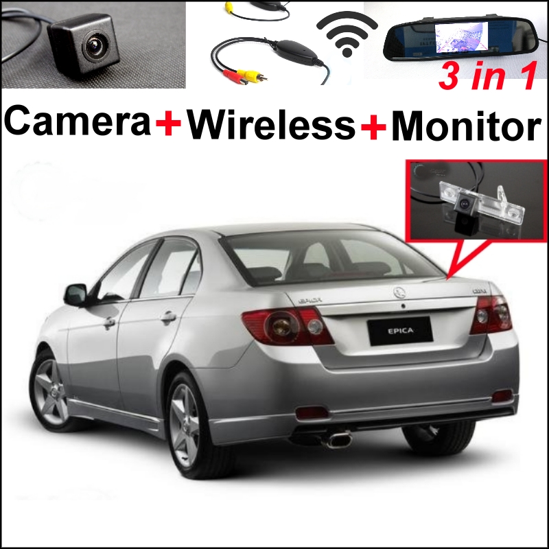 3in1Special WiFi Camera + Wireless Receiver + Mirror Monitor Easy DIY Parking System For Holden Barania Captiva Epica Matiz Viva wireless pager system 433 92mhz wireless restaurant table buzzer with monitor and watch receiver 3 display 42 call button