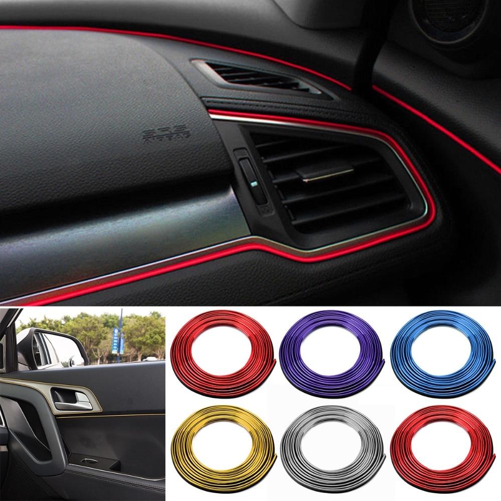 5M Car DIY Interior Silver Black Sticker Moulding Styling Strip Trim Decals ABS