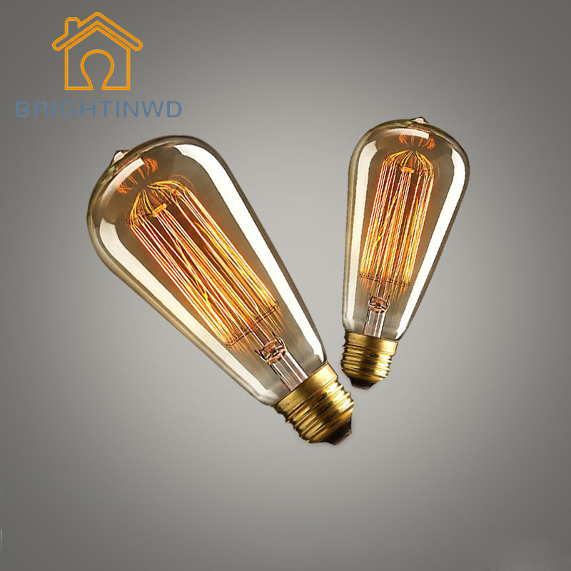 BRIGHTINWD 2PCS 40W Vintage Retro ST64 Edison Bulb E27 Filament Light Bulb Warm White 220V Antique Incandescent Bulb