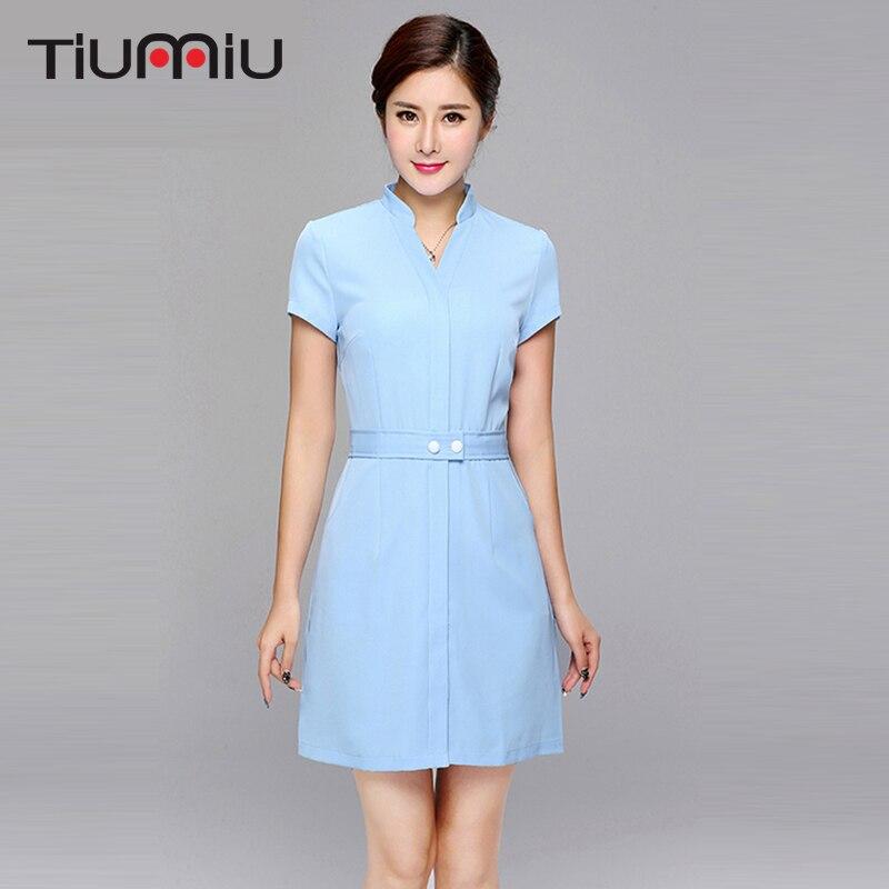 New Arrival Summer Hospital Doctor Nurse Uniform Lady Short Sleeve Medical Clothes Beauty Salon Blue Purple V-neck Dress Uniform