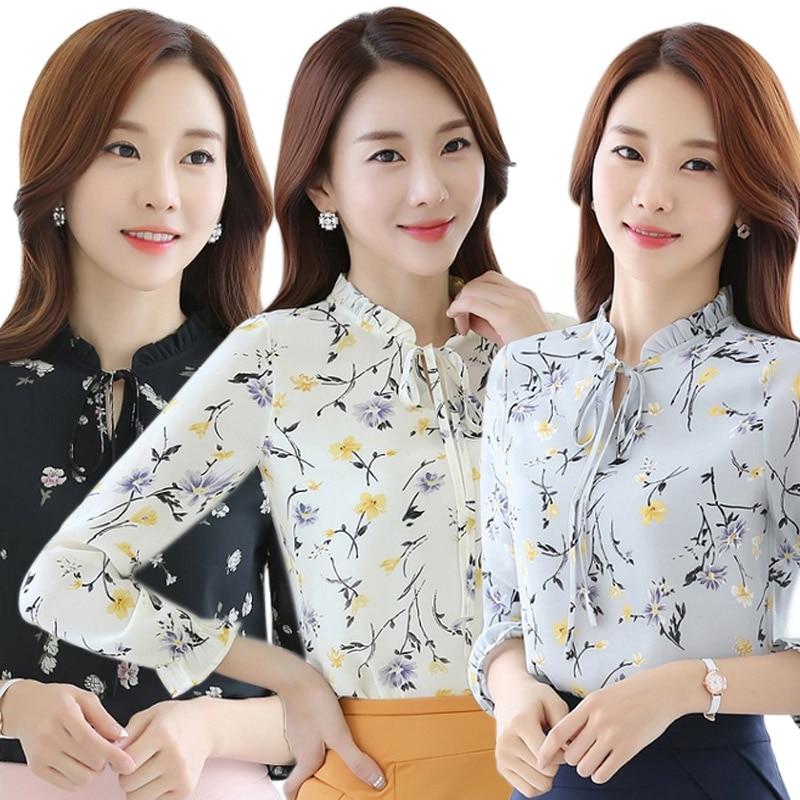 Moda Gasa de Las Mujeres Impreso Floral Blusa Camisa Floja Ocasional de Manga La