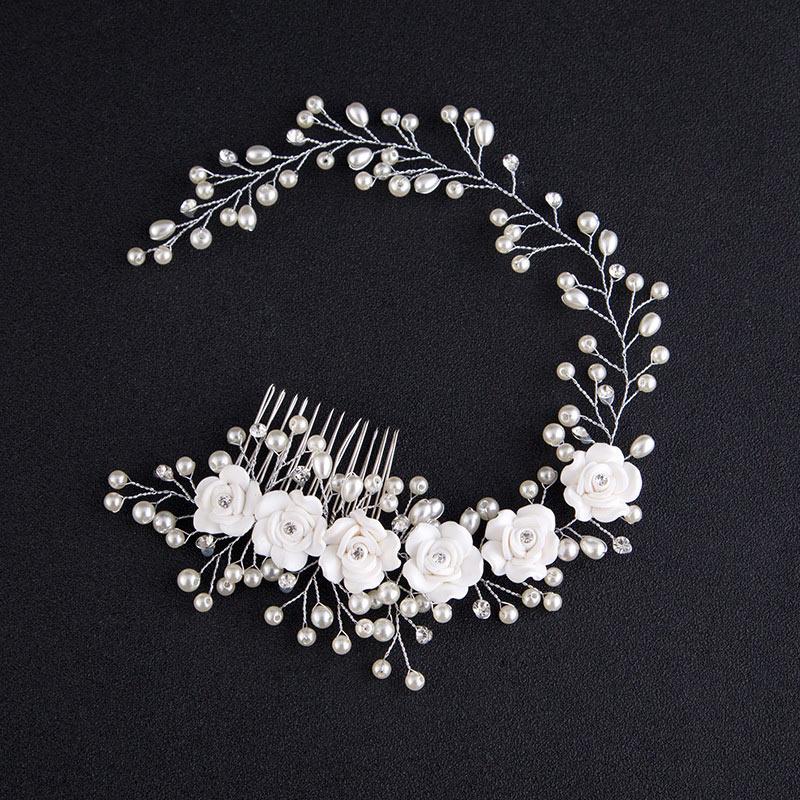Fashion Korean Women Hair Comb Bride Wedding Hair Clip Handmade Flowers Beads Decoration Ladies Hairs Accessories KQS8