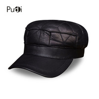 HL115 Men S Real Leather Baseball Cap Hat Winter Warm Russian Genuine Leather One Fur Beret