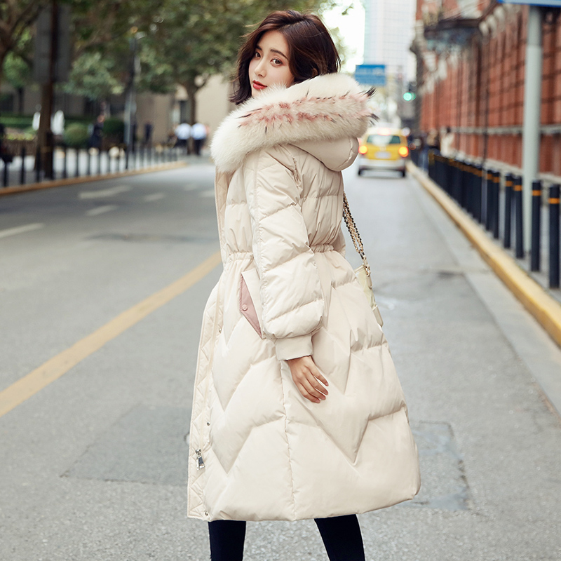 Big Real Fox Fur Collar 2019 Winter   Coat   Women Hooded Female Long   Down   Parka Warm Slim Snow Outwear White Duck   Down   Jackets   Coat