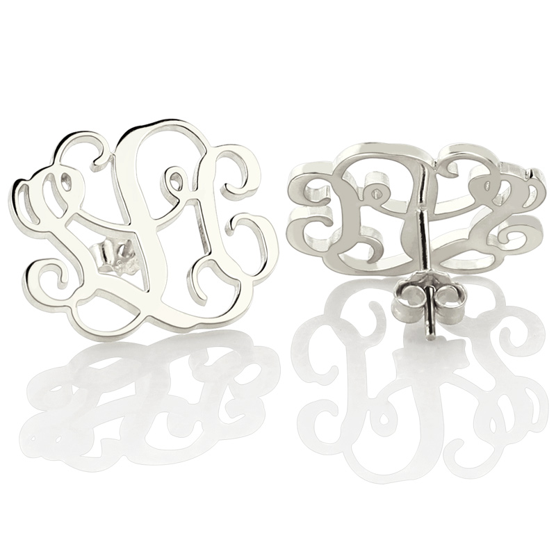 Whole Monogram Stud Earrings Personalized Sterling Silver Initial Monogrammed Jewelry For Women In From