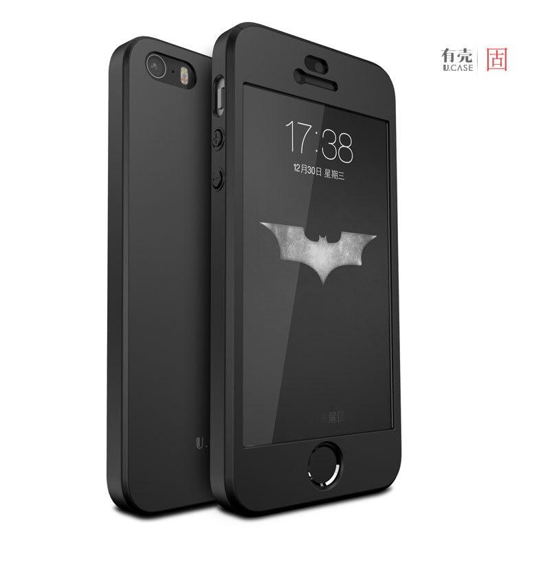 100% D'ORIGINE GU JIANG marque de luxe pleine protection en plastique dur cas pour iphone SE pour l'iphone 5S avec trempé verre protecteur