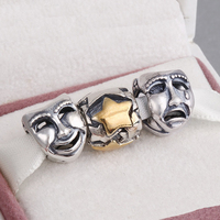 Fits Pandora Charms Bracelet and Necklace 925 Sterling Silver Charm Sets Sparkling Mask Beads Women DIY design Drop Shipping