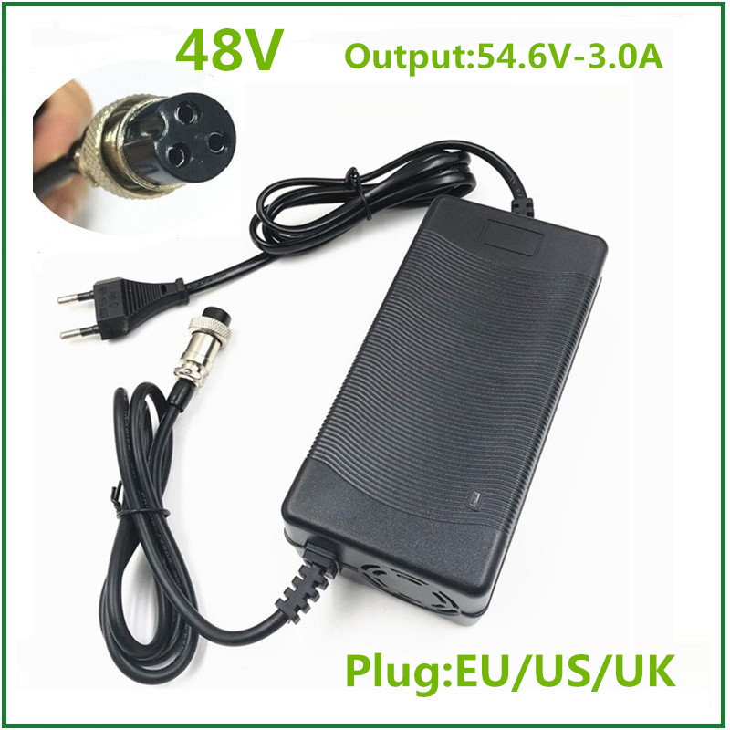 48V Li-ion Battery Charger Output 54 6V 3A for 48V Electric Bike Lithium Battery Pack  3 Pin Female Connector XLRF XLR 3 Socket