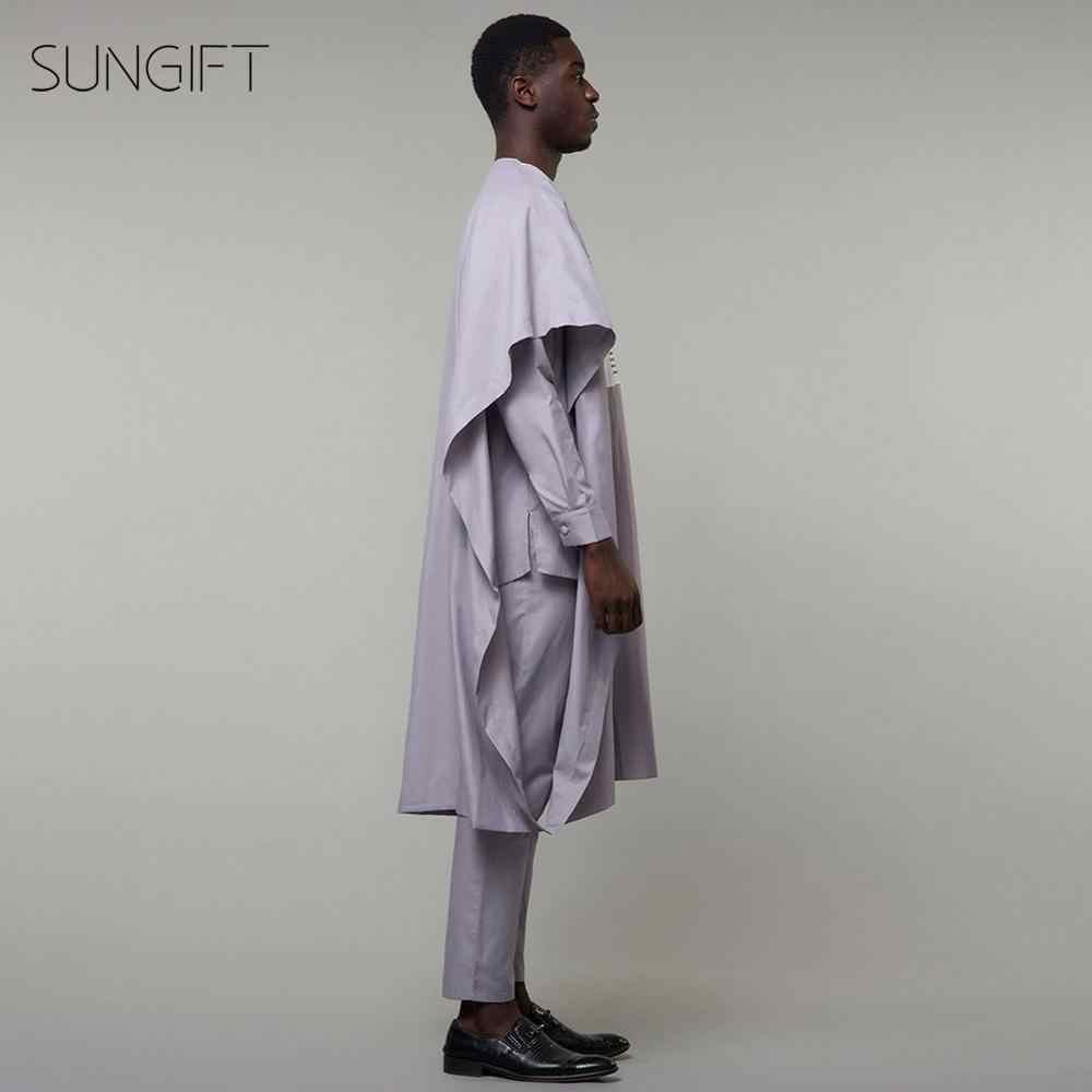 SUNGIFT mannen Afrikaanse Routine Ronde Hals Agbada Dashiki Top Grijs Shirts Borst Print En Broek Plus Size Outfits 3 stukken
