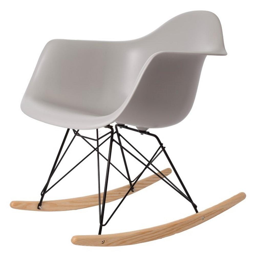 Modern Design Popular Home decoration Rocking Chair Plastic Shell Rocker Home Rocking chairs Leisure Chair modern-Black Wire leg