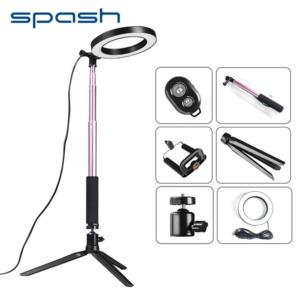 Spash 8 polegada Mini LED Anel de Luz Portátil Luz de Vídeo para o Youtube Photo Shooting 64 SMD LEVOU Lâmpada Anular 3200 k/5500 k CRI90