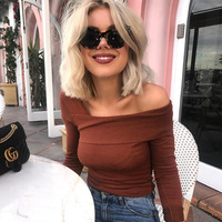 TAUPIN AM Sexy One Shoulder T Shirt Women Tops Tees Ruffles Neck Long Sleeve T-shirt Sexy Elastic Slim Brown Party Autumn Top