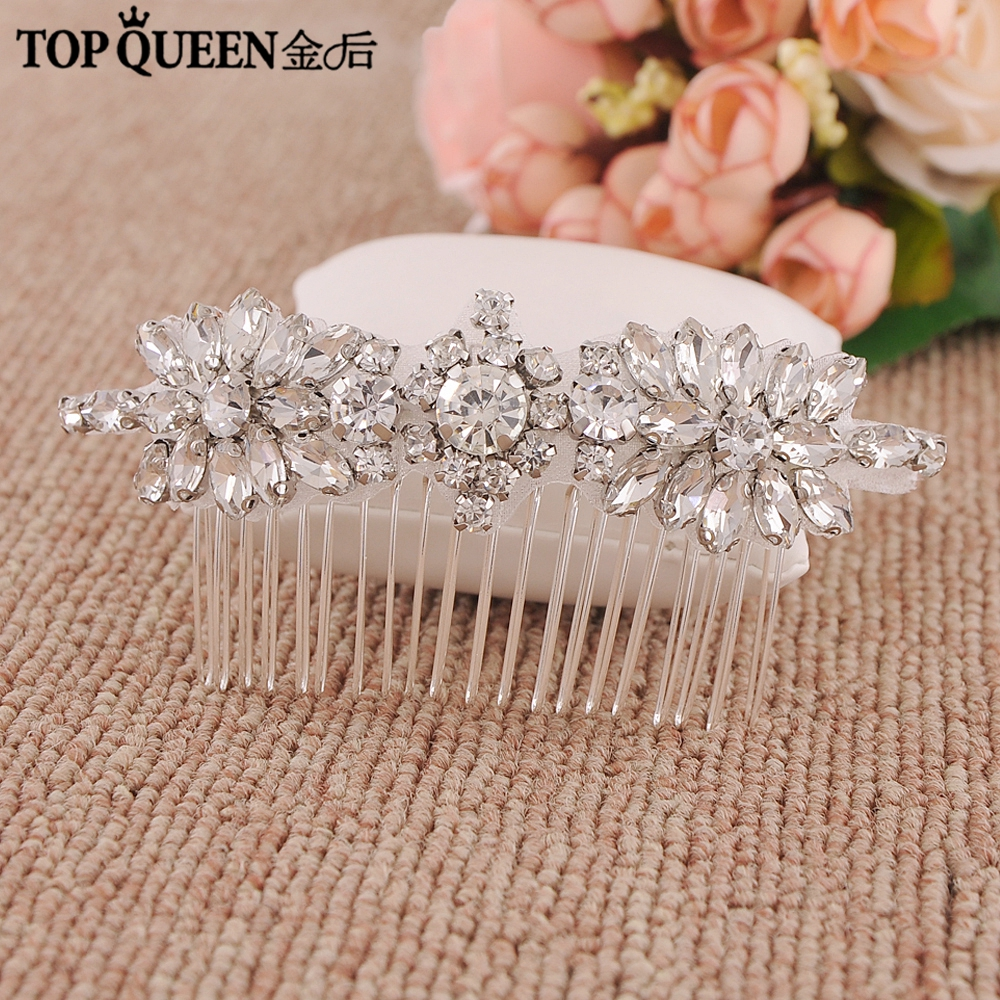aliexpress : buy topqueen h49 handmade silvery bridal hair comb with rhinestone and ctystal high quality wedding combs elegant accessories from