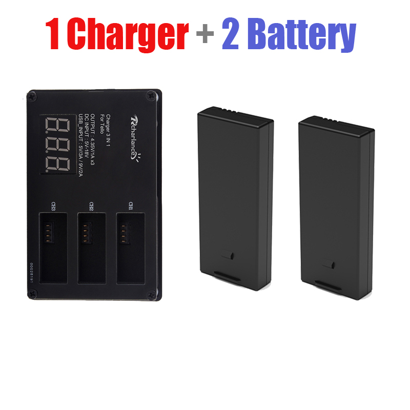 2pcs DJI tello Battery tello Lipo Flight Battery+3 Way Fast Charging Batteries Charger For Hub tello EDU Drone Accessories