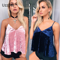 Pink Black Party Crop Top Sexy Women Crushed Velvet Cami Tank Top 2017 Girls Sexy Straps