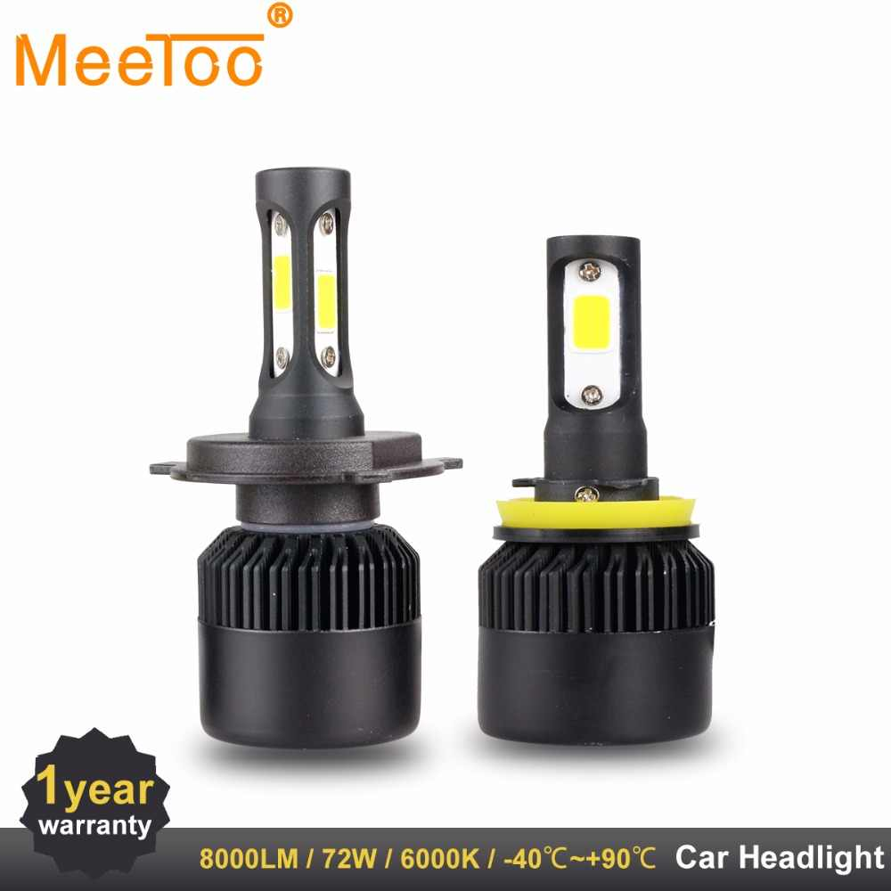 MeeToo H4 H7 LED T1 Auto Lamps Headlight HB3 HB4 H11 H1 9006 9005 LED Light Bulbs for Car 8000LM 72W Led Car Headlamp Ice Lamp