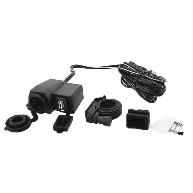 2018 2 In 1 Car 12V Motorcycle Cigarette Lighter Socket USB Charger Waterproof Black