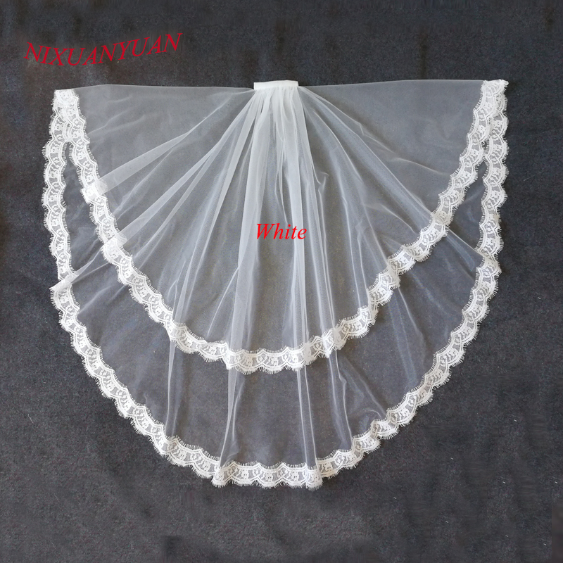 NIXUANYUAN 2017 Hot Sale Two Layer White Ivory Tulle Bridal Veil Lace Edge Cheap Short Wedding Veils Veu De Noiva Longo In Stock