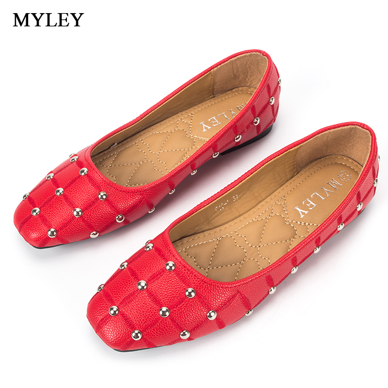 MYLEY Women Casual Fashion Studded Loafers Soft Waliking Flats Shoes Black Red Pink Shallow Mouth Single Shoes Female Footwear minika women shoes flats loafers casual breathable women flats slip on fashion 2017 canvas flats shoes women low shallow mouth