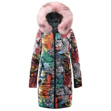 Plus Size Hip Hop Gothic Winter Cotton Padded Jackets Women Coat Casual Warm Pink Slim Thick Print Overcoats Female Long Outwear