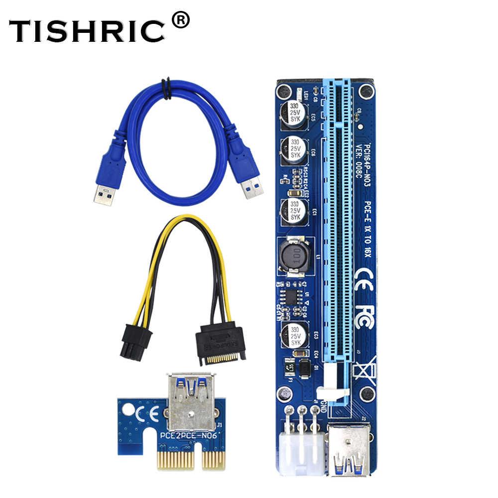 TISHRIC VER008C Molex 6 pin PCI Express PCIE PCI-E Yükseltici Kart 008C 1X to 16X Genişletici 60 cm USB3.0 Kablo madencilik Bitcoin Madenci
