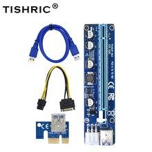 TISHRIC VER008C Molex 6 pin PCI Express PCIE PCI-E yükseltici kart 008C 1X to 16X genişletici 60cm USB3.0 kablo madencilik Bitcoin madenci