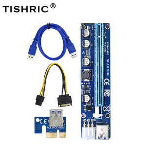 TISHRIC VER008C Molex 6 pin PCI Express PCIE PCI-E Riser Card 008C 1X to 16X Extender 60cm USB3.0 Cable Mining Bitcoin Miner