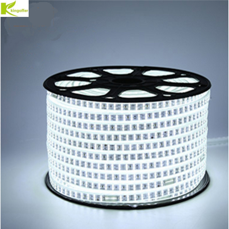 Kingoffer 1M~ 25M SMD 2835 AC 220V Led Strip Tape Waterproof Flexible Bar Light 120 Led/M With EU Plug For Garden Party Decor ostin вязаная водолазка