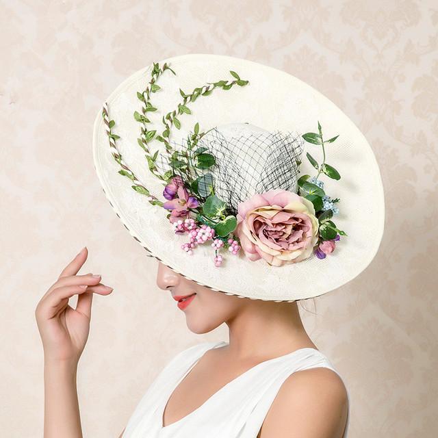 Nupcial Do Casamento Floral Chapéu Multa Jardim Foto De Noiva Acessório Do Cabelo Noiva Mãe Ocasião Especial Do Partido Chapéu