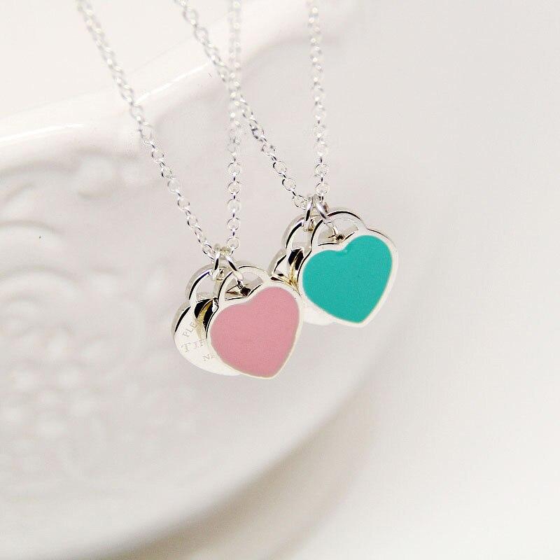 Двойной кулон сердце Цепочки и ожерелья синий розовый эмаль цепь ключицы серебро Цепочки и ожерелья для Для женщин Модные украшения Drop-доставка