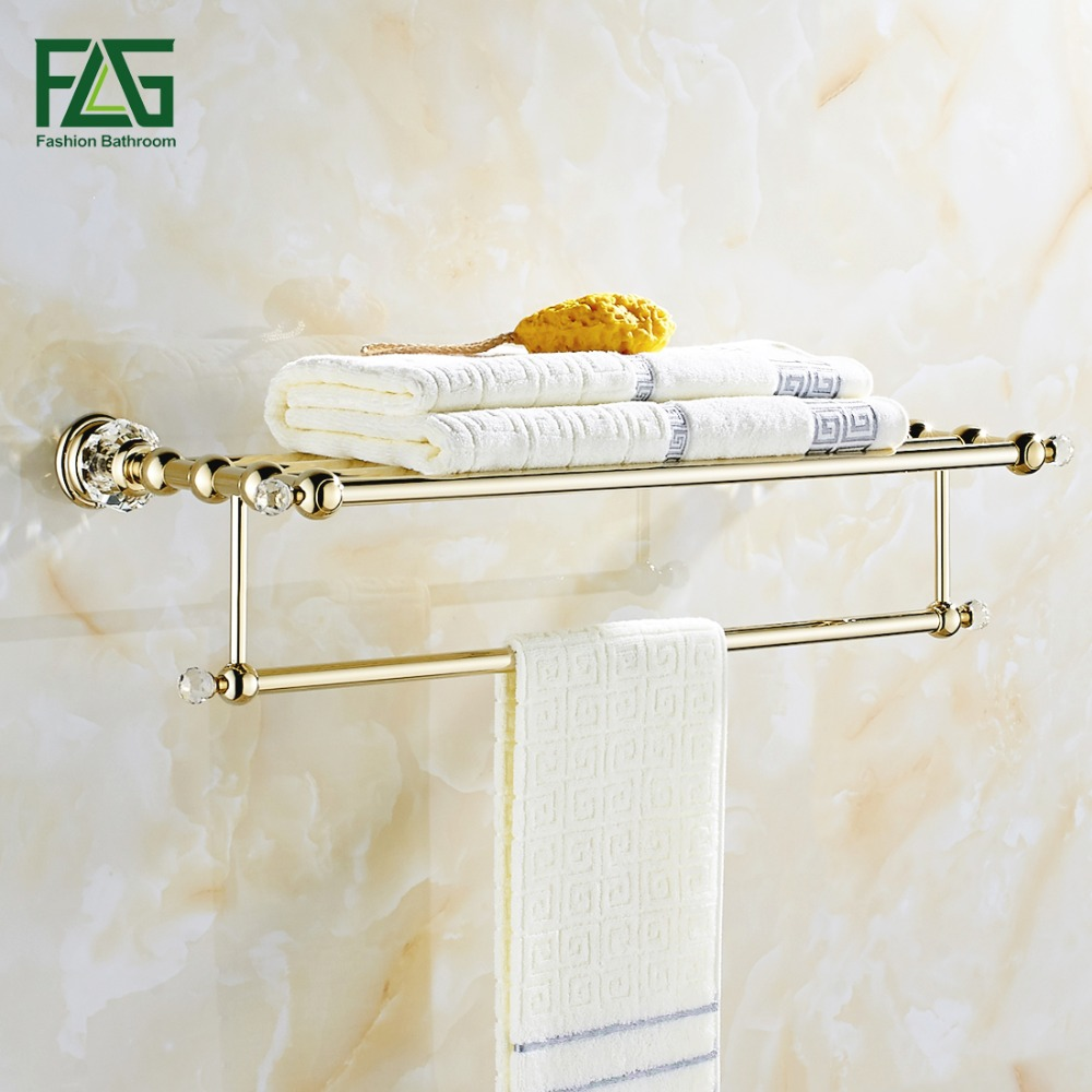 цена на FLG Free Shipping Wall Mounted Bath Towel Rack Bathroom Accessories Products Crystal&Golden Towel Bar Towel Holder Product 87507