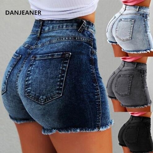 Danjeaner High Waist Denim Shorts Bodycon Ripped Hole Short Jeans With Tassel Plus Size 5xl 2019 Summer New Female Shorts