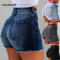 DANJEANER джинсовые шорты с высокой талией облегающие рваные короткие джинсы с кисточками размера плюс 5XL 2019 летние новые женские шорты