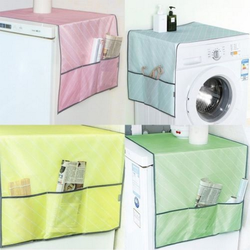 Household Waterproof Refrigerator Dust Cover with Top Bag Fridge Storage Bag Freezer Top Bag for Kitchen Supplies Accessories image